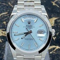 Rolex Day-Date 40 Platina 40mm Blauw Geen cijfers Nederland, Rotterdam