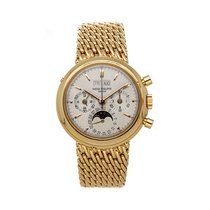 Patek Philippe Perpetual Calendar Chronograph Yellow gold 36mm Silver No numerals