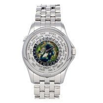 Patek Philippe Platinum Automatic Silver No numerals 39.5mm pre-owned World Time