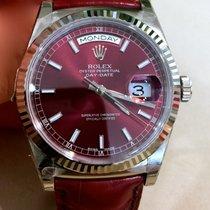 Rolex Day-Date 36 Weißgold 36mm Rot Keine Ziffern