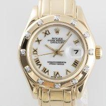 Rolex Lady-Datejust Pearlmaster Oro amarillo 29mm Blanco
