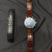 IWC Portofino Chronograph pre-owned 42mm Blue Chronograph Date Crocodile skin