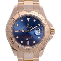 Rolex Yellow gold Automatic Blue No numerals 40mm pre-owned Yacht-Master 40