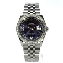 Rolex Datejust Staal 36mm Paars Romeins