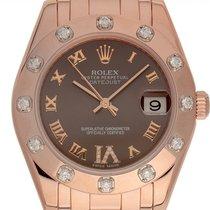 Rolex Lady-Datejust Pearlmaster подержанные 34mm Коричневый Дата Pозовое золото