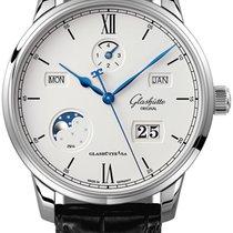 Glashütte Original Senator Excellence pre-owned 42mm Silver Moon phase Date Month Perpetual calendar Crocodile skin