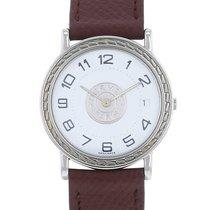 Hermès Sellier Steel 32mm White Arabic numerals