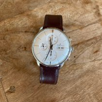 Junghans Meister Chronoscope brugt 40mm Sølv Kronograf Dato Viser for ugedage Læder