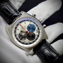 Zenith El Primero New Vintage 1969 pre-owned 40mm Silver Chronograph Date Crocodile skin