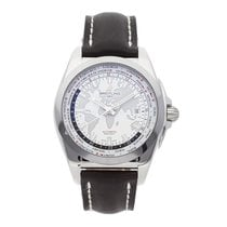 Breitling Galactic Unitime pre-owned 44mm White Date GMT Leather