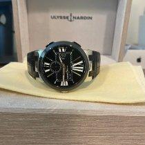 Ulysse Nardin Executive Dual Time pre-owned 43mm Black Date GMT Crocodile skin