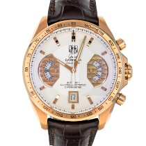 TAG Heuer Rose gold Automatic Silver 43mm pre-owned Grand Carrera