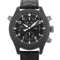 IWC Pilot Double Chronograph tweedehands 45mm Zwart Dubbele chronograaf Datum Krokodillenleer