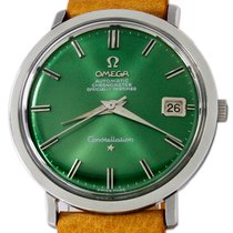 Omega Constellation pre-owned 35mm Green Date Leather