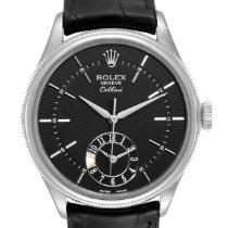 Rolex Cellini Dual Time Złoto białe 39mm Czarny