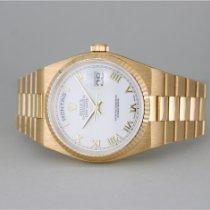 Rolex Day-Date Oysterquartz Oro amarillo 36mm Blanco Sin cifras