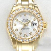 Rolex Lady-Datejust Pearlmaster Żółte złoto 29mm Srebrny Bez cyfr