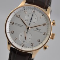 IWC Portuguese Chronograph pre-owned 40.9mm Silver Chronograph Leather