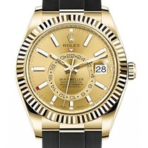 Rolex Yellow gold Automatic Champagne No numerals 42mm new Sky-Dweller