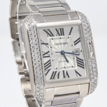 Cartier White gold Automatic Silver Roman numerals 30mm pre-owned Tank Anglaise