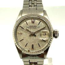 Rolex Oyster Perpetual Lady Date Acero y oro 26mm Plata Sin cifras