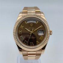 Rolex Day-Date II Aur roz 41mm Maron Roman