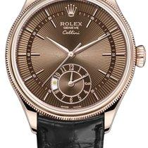 Rolex Cellini Dual Time Roségold 39mm Braun Keine Ziffern