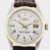 Rolex Oyster Perpetual Date Acero y oro 34mm Blanco Sin cifras