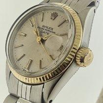 Rolex Oyster Perpetual Lady Date Acero y oro 26mm Champán Sin cifras