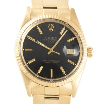 Rolex Oyster Perpetual Date Желтое золото 34mm Черный