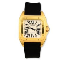 Cartier Yellow gold Automatic Silver Roman numerals 38mm pre-owned Santos 100