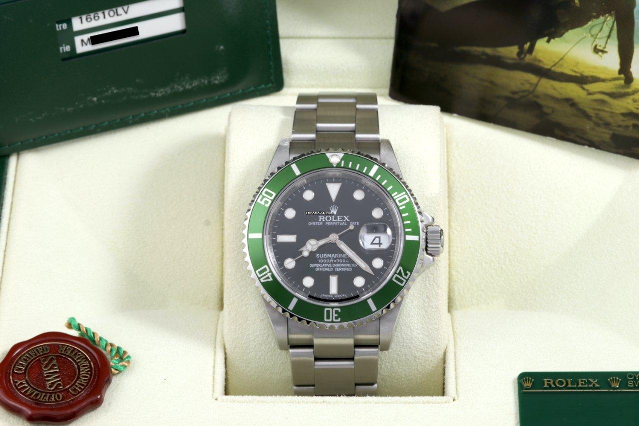 Rolex Submariner Date 16610LV Kermit 2008 pre-owned