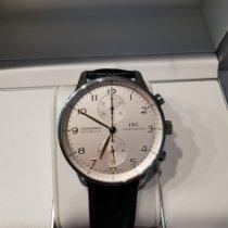 IWC Portugieser Chronograph gebraucht 41mm Silber Chronograph Krokodilleder