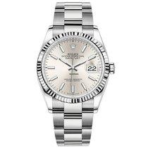 Rolex White gold Automatic Silver No numerals 36mm new Datejust