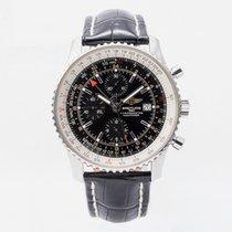 Breitling Navitimer World подержанные 46mm Черный Хронограф Дата GMT/две час.зоны Кожа