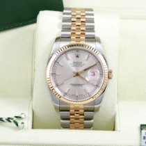 Rolex Datejust pre-owned 36mm Silver Date Gold/Steel