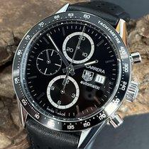 TAG Heuer Carrera Calibre 16 gebraucht 41mm Schwarz Chronograph Datum Leder