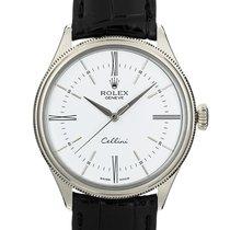 Rolex Cellini Time подержанные 39mm Белый GMT/две час.зоны Кожа