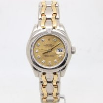 Rolex White gold Automatic Champagne 29mm pre-owned Lady-Datejust Pearlmaster