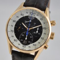 TAG Heuer Rose gold Automatic White 43mm pre-owned Carrera Mikrograph