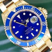 Rolex Желтое золото Автоподзавод Синий Без цифр 40mm подержанные Submariner Date