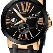 Ulysse Nardin Executive Dual Time pre-owned Black Leather