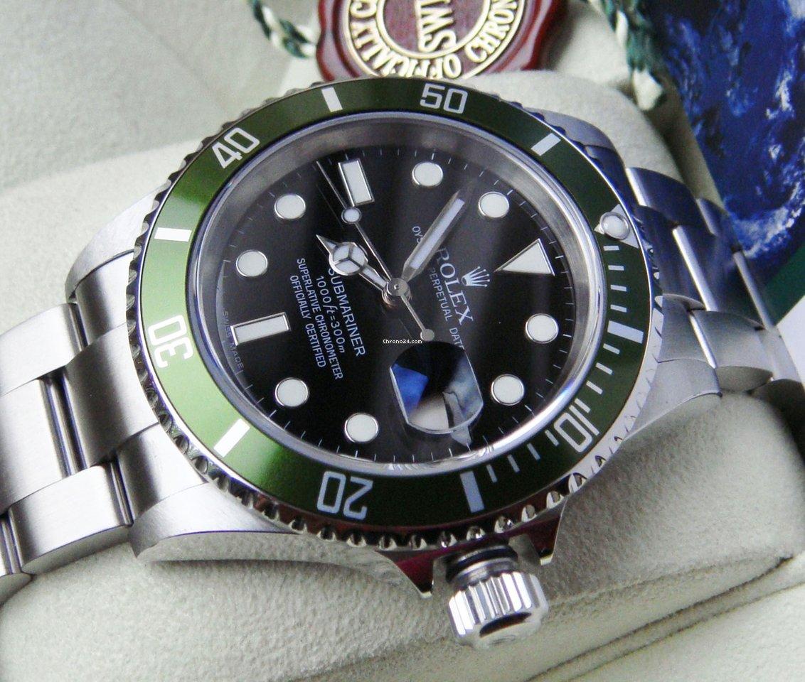 Rolex Submariner Date 16610LV Kermit 2005 gebraucht