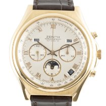Zenith Yellow gold Automatic Silver 39mm pre-owned El Primero Chronomaster