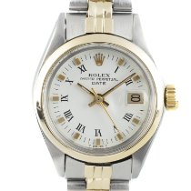 Rolex Oyster Perpetual Lady Date Золото/Cталь 26mm Белый