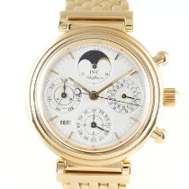 IWC Da Vinci Perpetual Calendar pre-owned 39mm White Moon phase Chronograph Date Weekday Month Perpetual calendar Yellow gold
