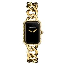 Chanel Rose gold Quartz Black No numerals 20mm new Première