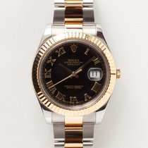 Rolex Yellow gold Automatic Black Roman numerals 41mm pre-owned Datejust II