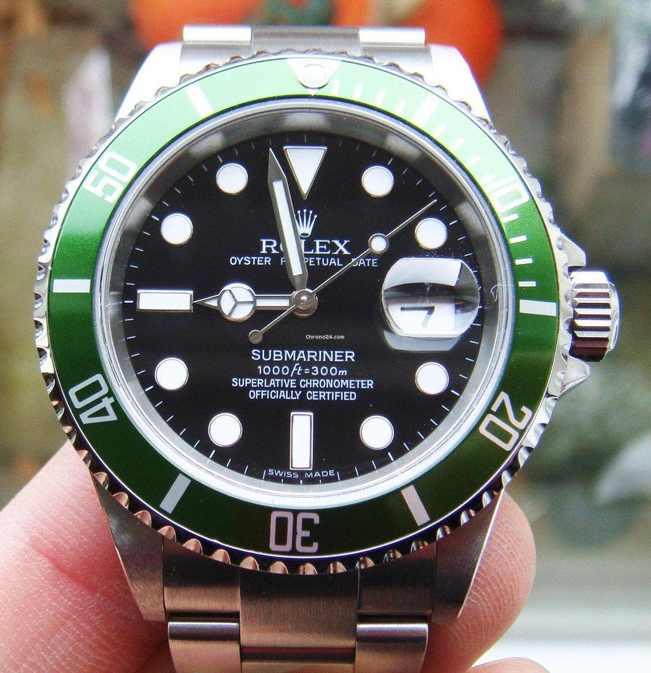 Rolex Submariner Date 16610LV Kermit 2006 gebraucht