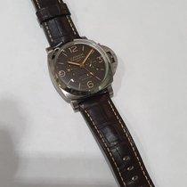 Panerai Luminor 1950 8 Days GMT Titanio 47mm Marrón Arábigos